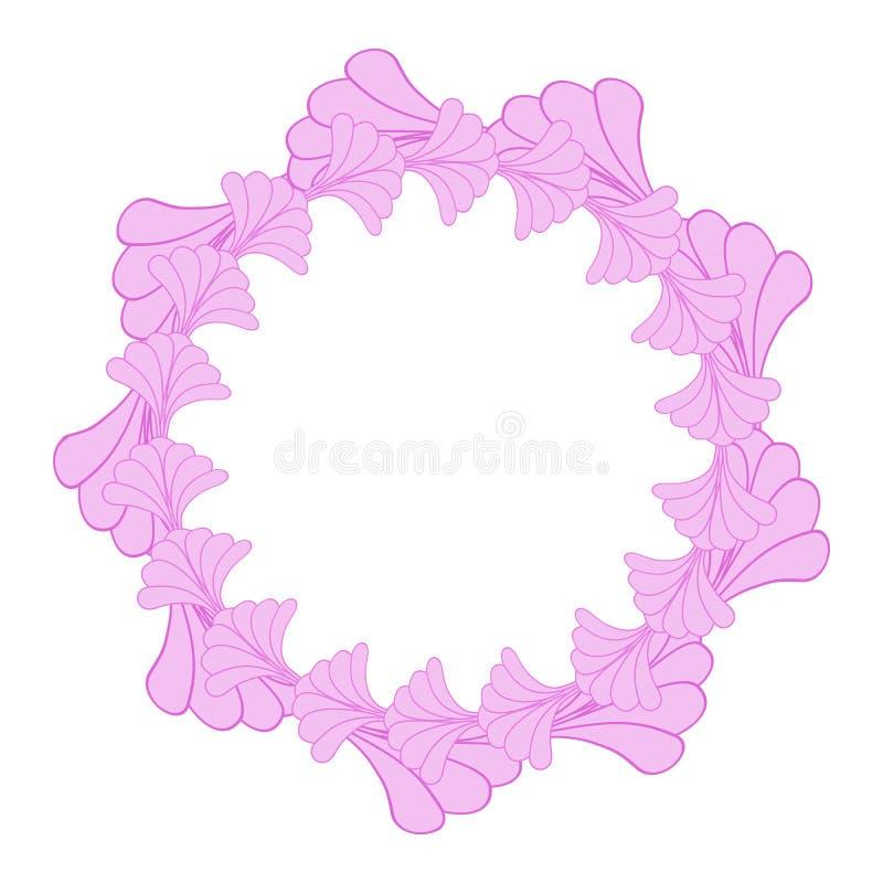 Confine rotondo della struttura del fiore o elemento d'annata di progettazione floreale di stile illustrazione di stock