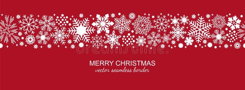 Confine senza cuciture bianco e rosso del fiocco di neve, Natale illustrazione vettoriale