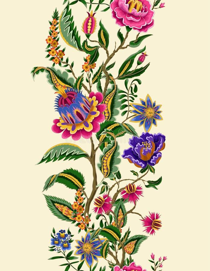 Confine senza cuciture con gli elementi etnici indiani dell'ornamento Fiori e foglie pieghi per la stampa o il ricamo Illustrazio royalty illustrazione gratis