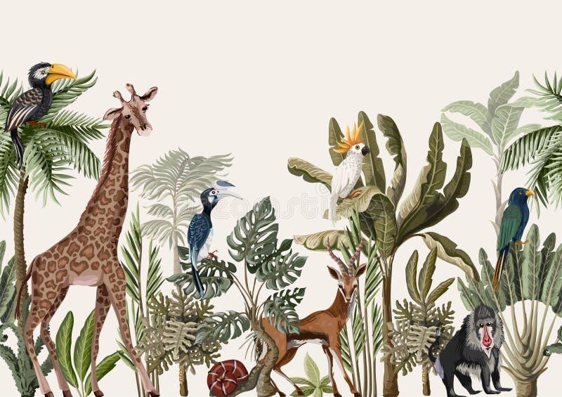 Confine senza cuciture con l'albero tropicale quali gli animali della palma, della banana e della giungla Vettore illustrazione di stock