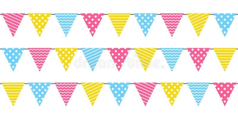 Confine senza cuciture con le bandiere della festa di compleanno royalty illustrazione gratis