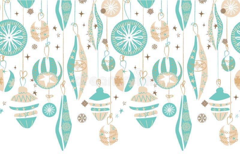 Confine senza cuciture d'attaccatura degli ornamenti di Natale Retro progettazione astratta dell'illustrazione Vettore illustrazione di stock
