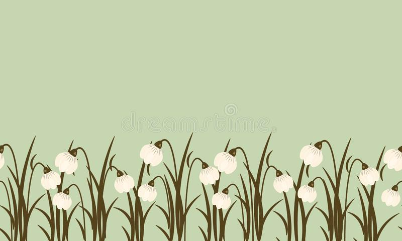 Confine senza cuciture dal bucaneve su fondo verde smeraldo polveroso per Giornata internazionale della donna l'8 marzo Paesaggio illustrazione vettoriale