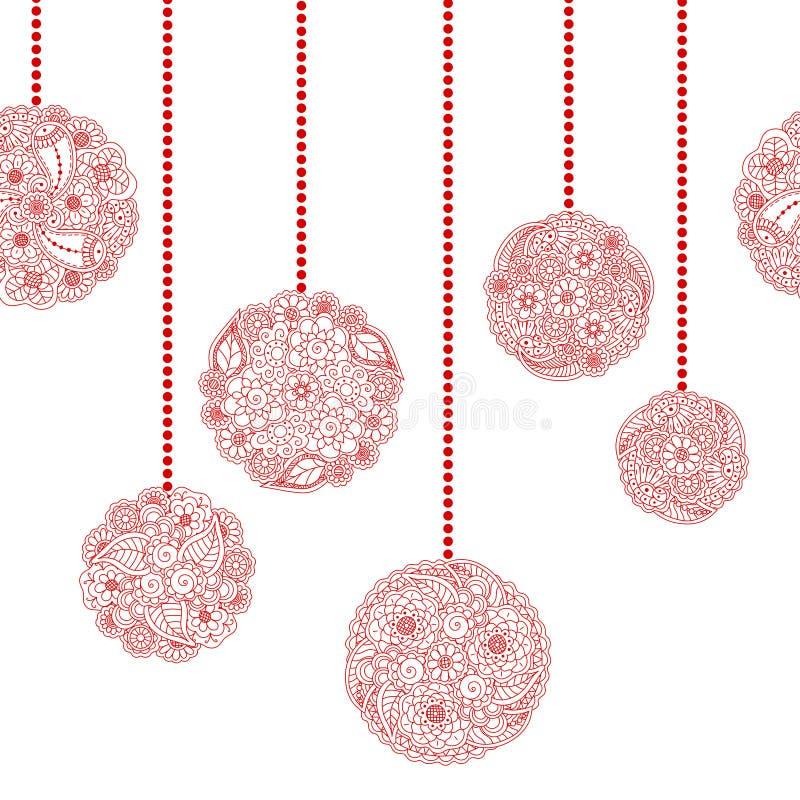 Confine senza cuciture decorativo di Natale di vettore con la palla rossa dell'albero illustrazione di stock