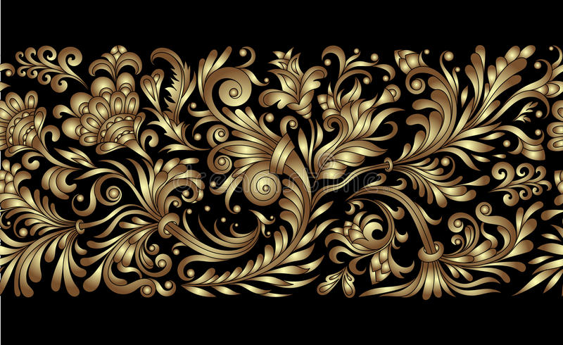 Confine senza cuciture decorato di vettore nello stile orientale Linea elemento di arte per progettazione, posto per testo Strutt illustrazione vettoriale