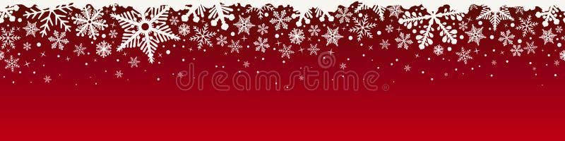 Confine senza cuciture del fiocco di neve superiore di Natale dell'estratto illustrazione vettoriale
