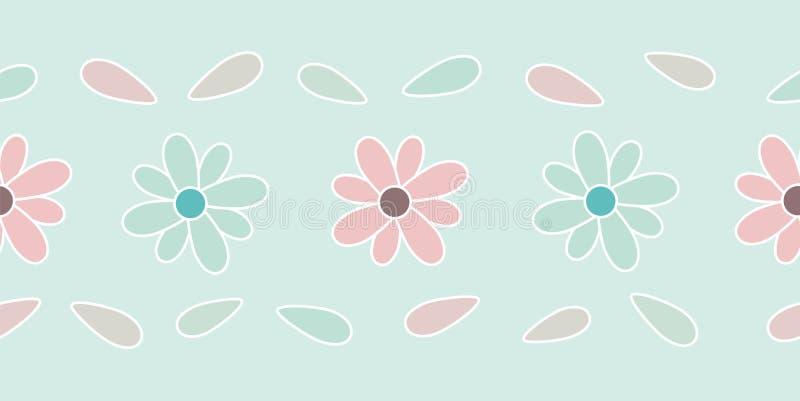Confine senza cuciture del fiore pastello illustrazione di stock