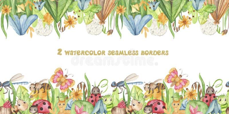 Confine senza cuciture dell'acquerello con gli insetti del fumetto ed i fiori svegli del prato Struttura con le farfalle, formich illustrazione vettoriale