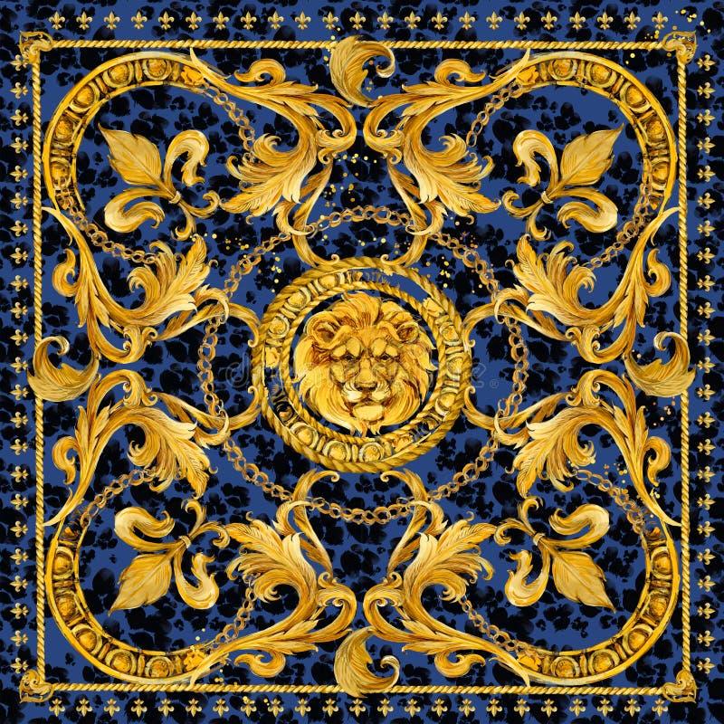 Confine senza cuciture delle catene dell'oro Illustrazione di lusso testa e pizzo dorati del leone progettazione del modello del  immagini stock libere da diritti