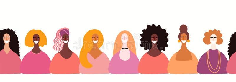 Confine senza cuciture delle diverse donne illustrazione di stock