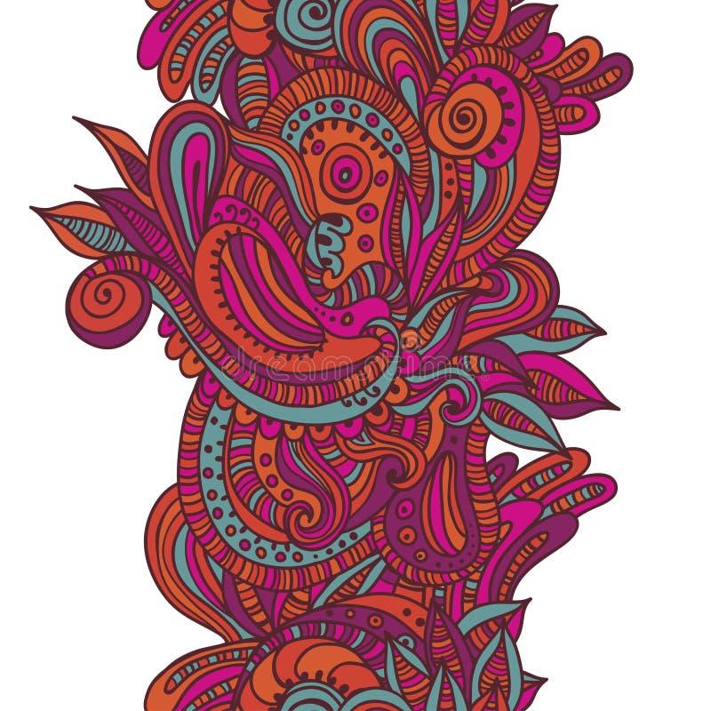 Confine senza cuciture disegnato a mano luminoso royalty illustrazione gratis