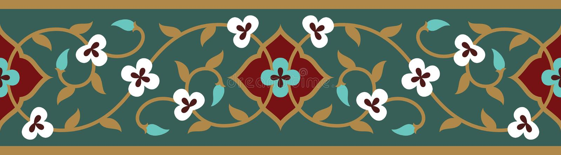 Confine senza cuciture floreale arabo Progettazione islamica tradizionale royalty illustrazione gratis