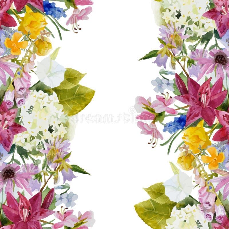 Confine senza cuciture floreale dell'acquerello illustrazione vettoriale
