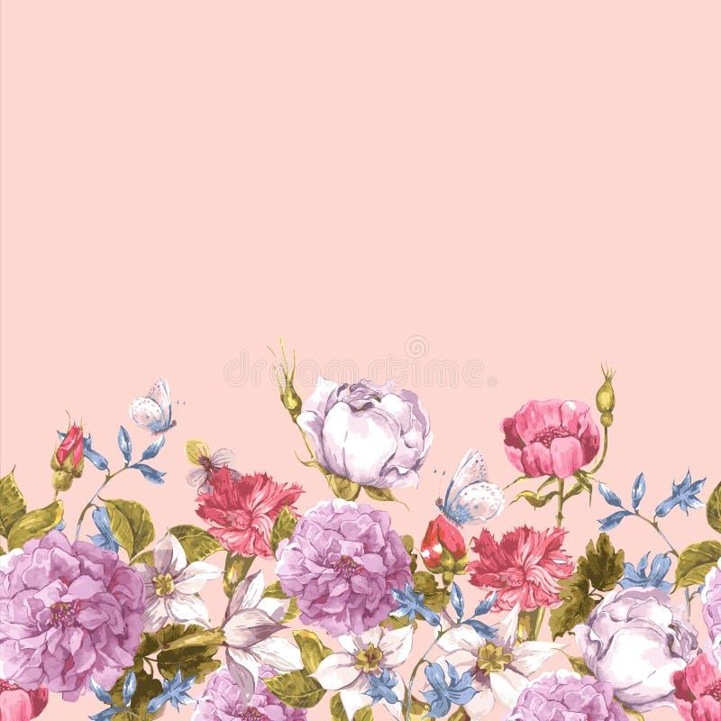 Confine senza cuciture floreale dell'acquerello con le rose royalty illustrazione gratis