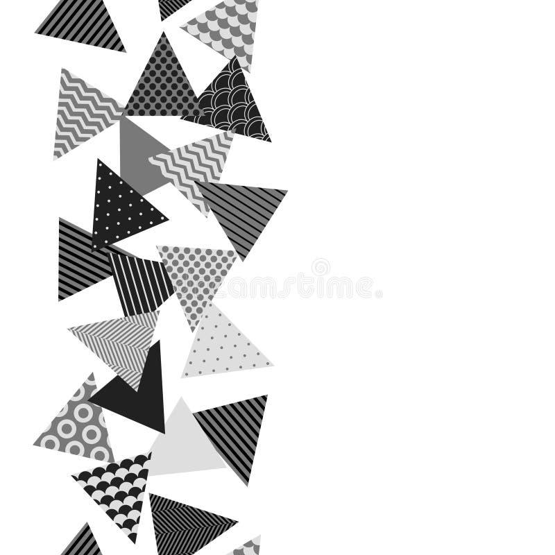 Confine senza cuciture geometrico modellato caotico dei triangoli in bianco e nero, vettore illustrazione vettoriale