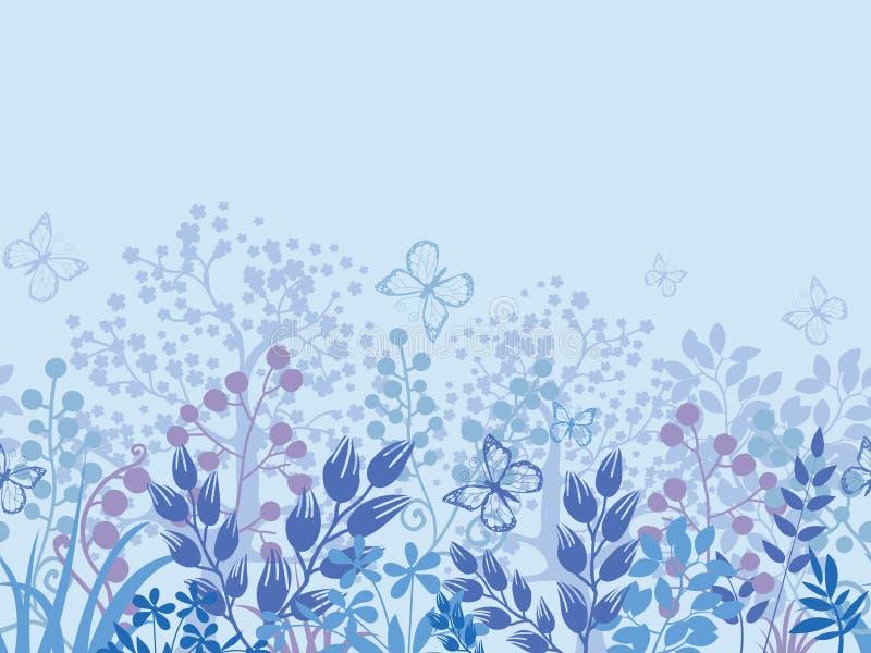 Download Confine Senza Cuciture Orizzontale Del Modello Delle Piante Nebbiose Illustrazione Vettoriale - Illustrazione di background, estratto: 30827567