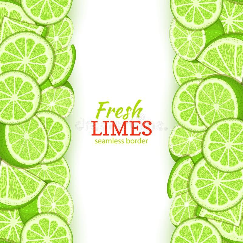 Confine senza cuciture verticale della frutta della calce Vector il limone fresco di verde del tropicat dell'alto e del basso del royalty illustrazione gratis