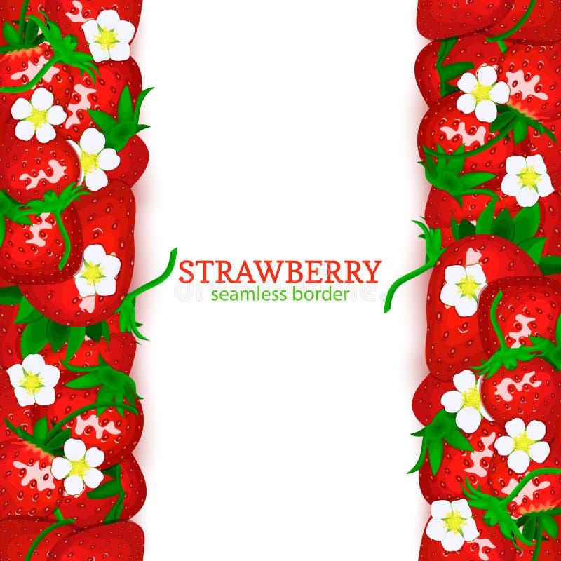Confine senza cuciture verticale della frutta della fragola Vector la cima della carta dell'illustrazione e basi i beries rossi f illustrazione vettoriale