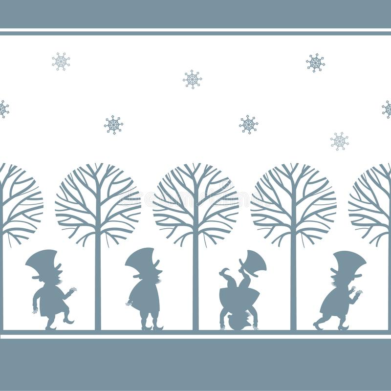 Confine senza fine con i leprechaun in giardino di inverno illustrazione di stock