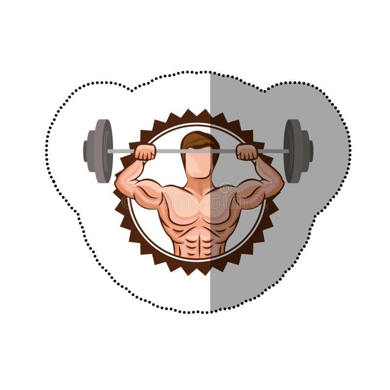 confine variopinto del bollo dell'autoadesivo con l'uomo del muscolo pesi di sollevamento di un disco royalty illustrazione gratis