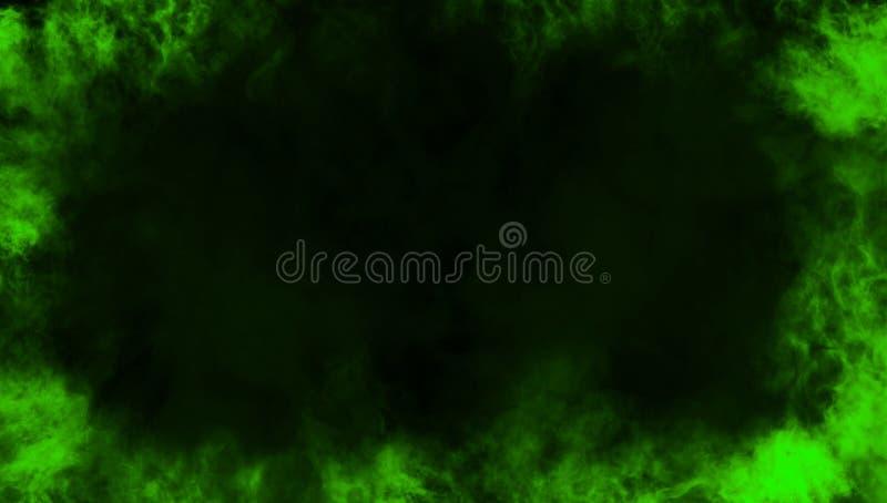 Confine verde da fumo Effetto nebbioso per il film, insegna, aletta di filatoio illustrazione di stock