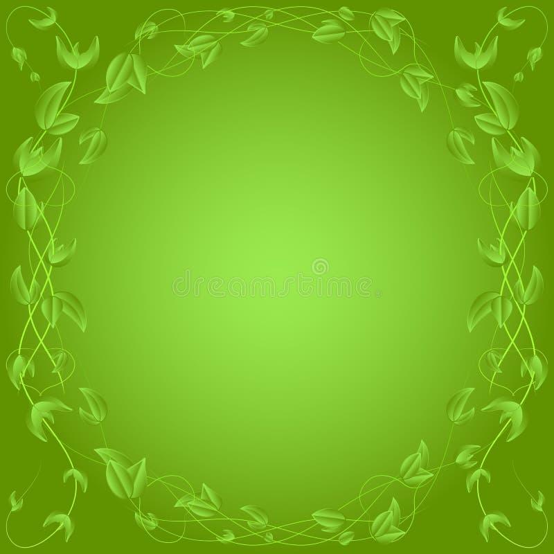 Confine verde della foglia, su fondo verde illustrazione vettoriale