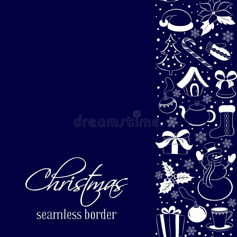Confine verticale senza cuciture di Natale Siluette degli elementi e dei simboli di inverno su un fondo blu scuro Styl del disegn illustrazione vettoriale