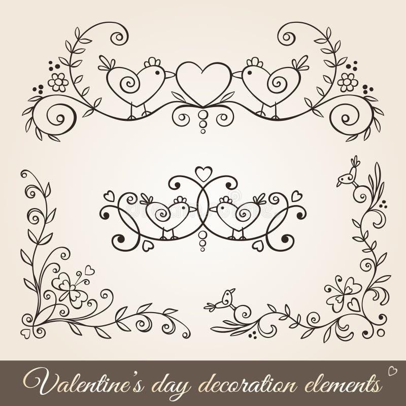 Confini, angoli e divisori di San Valentino illustrazione di stock