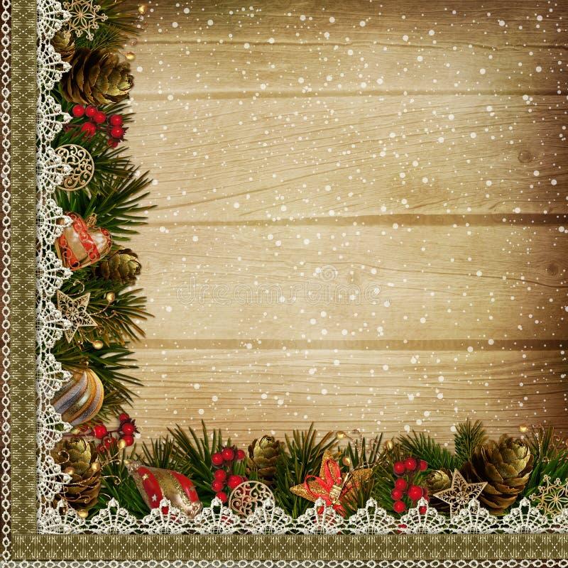 Confini con le decorazioni di Natale su fondo di legno illustrazione vettoriale