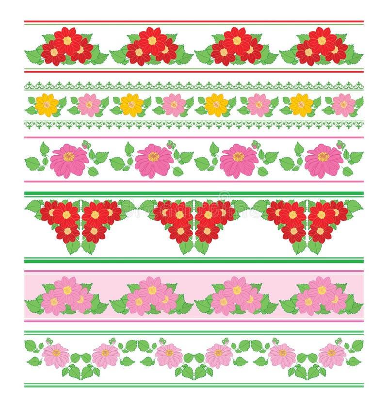 Confini decorativi con la dalia dei fiori - ornamenti senza cuciture di vettore illustrazione di stock