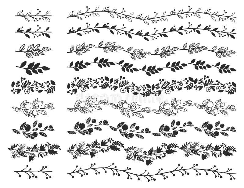 Confini decorativi d'annata Elementi disegnati a mano di progettazione di vettore illustrazione vettoriale