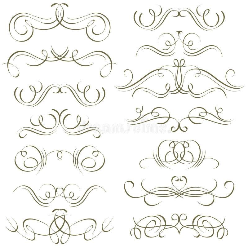 Confini decorativi di calligrafia, regole ornamentali, illustrazione vettoriale