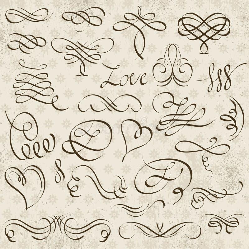 Confini decorativi di calligrafia, regole ornamentali, divisori illustrazione vettoriale