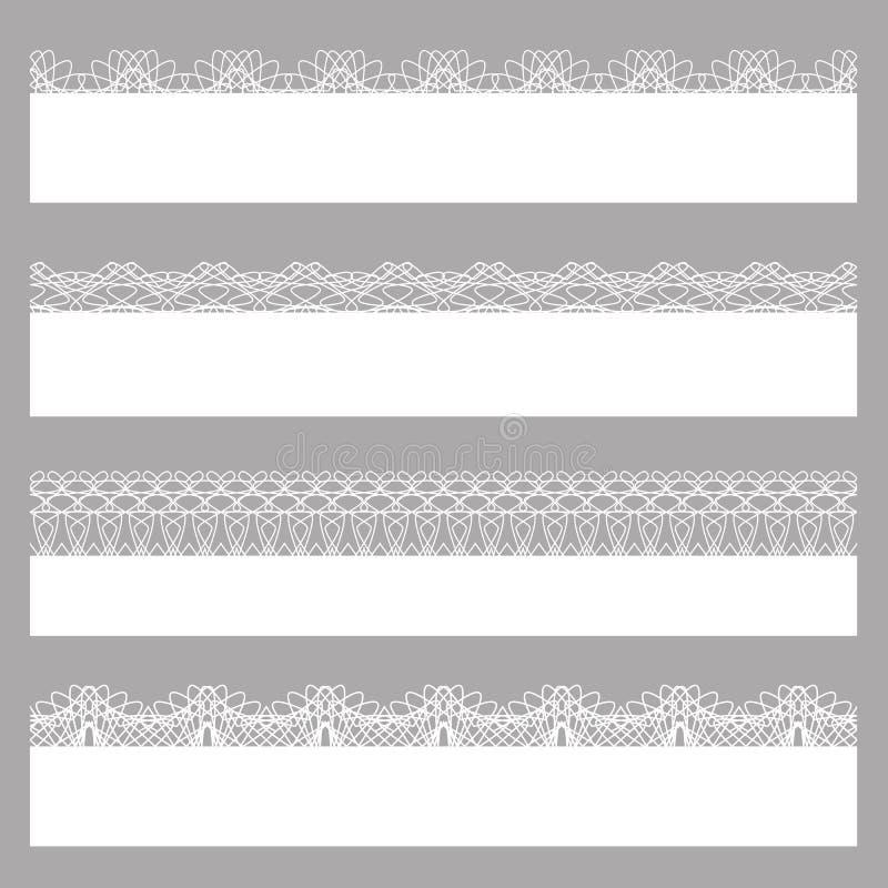 Confini del pizzo Insieme dei modelli senza cuciture bianchi illustrazione vettoriale