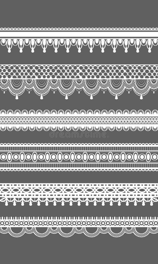 Confini del pizzo Modelli senza cuciture del pizzo di vettore Illustrazione di vettore Insieme dei confini senza cuciture della g illustrazione vettoriale