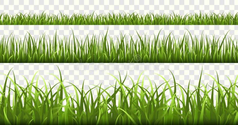 Confini dell'erba verde Il campo di football americano, natura di verde del prato dell'estate, erbe di panorama balza macro eleme illustrazione di stock