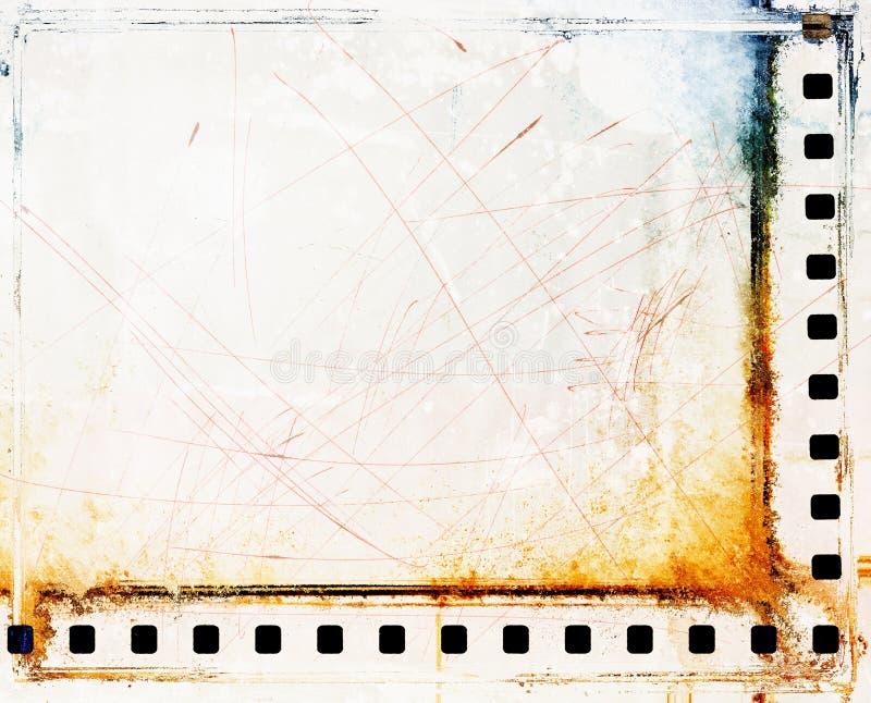 Confini della striscia di pellicola graffiati annata illustrazione vettoriale