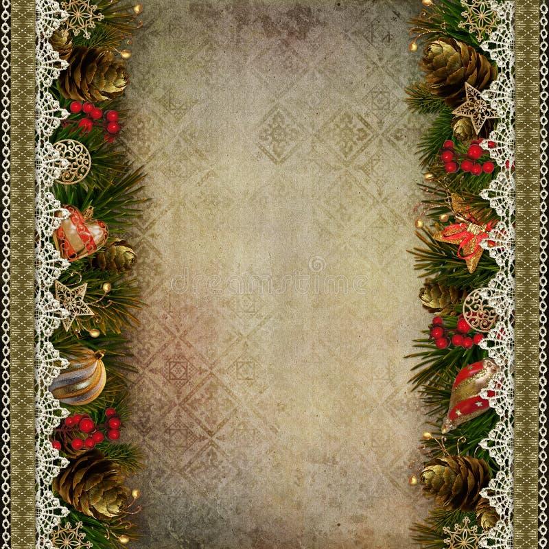 Confini delle decorazioni di Natale con pizzo su fondo d'annata royalty illustrazione gratis