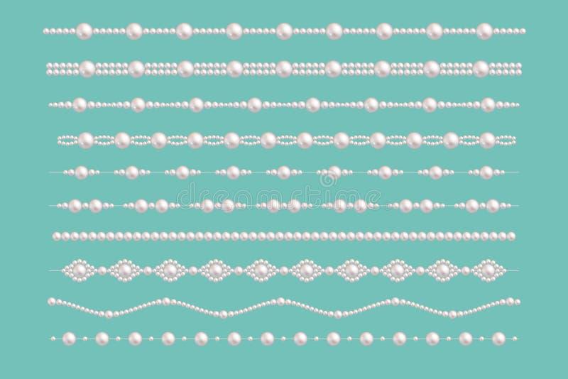 Confini di fascino della perla Vector i modelli d'annata della collana degli accessori delle perle della sposa isolati su verde illustrazione vettoriale