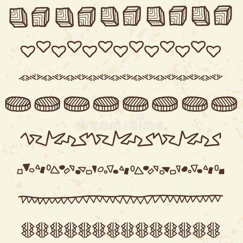 Confini di scarabocchio illustrazione di stock