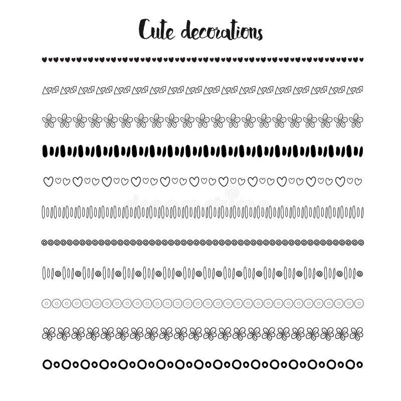 Confini disegnati a mano Decorazione di feste di vettore Progettazione sveglia della decorazione illustrazione di stock