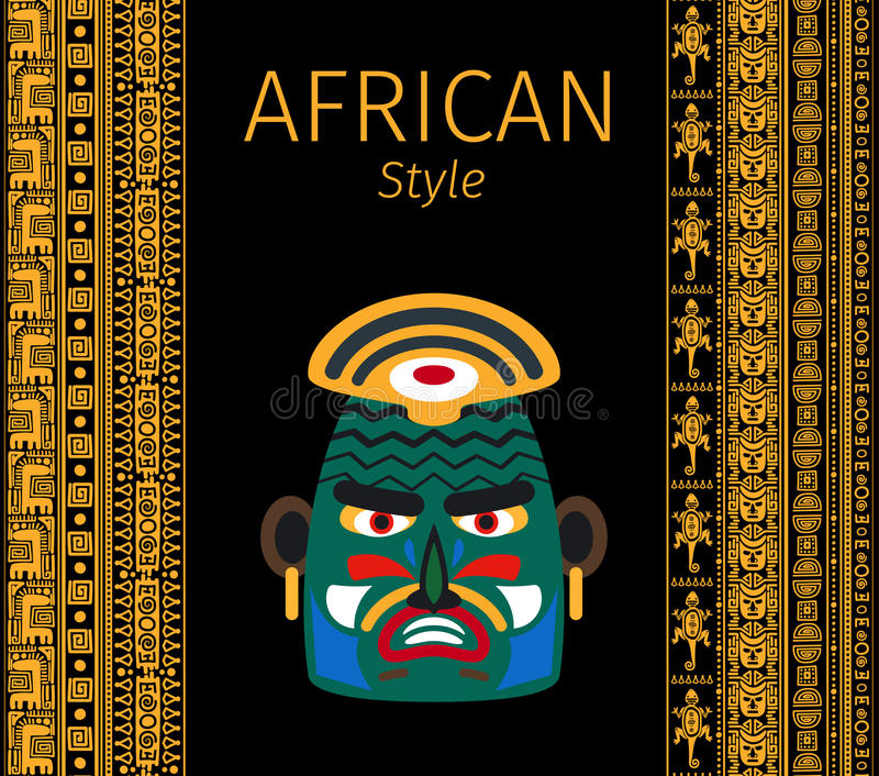 Confini e progettazione gialli africani della maschera illustrazione di stock