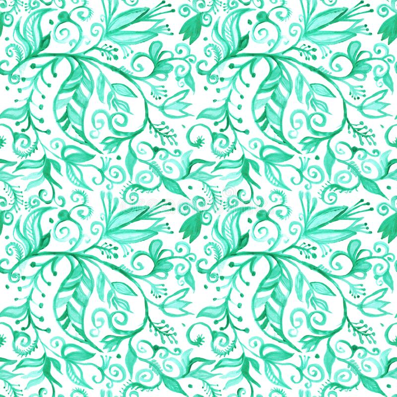 Confini floreali senza cuciture del modello dell'acquerello disegno che dipinge BAC illustrazione di stock