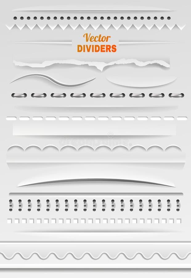 Confini la linea del divisore di vettore e la struttura confinante per l'insieme dell'illustrazione della decorazione dell'elemen illustrazione di stock