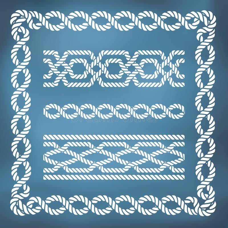 Confini nautici senza cuciture decorativi della corda royalty illustrazione gratis