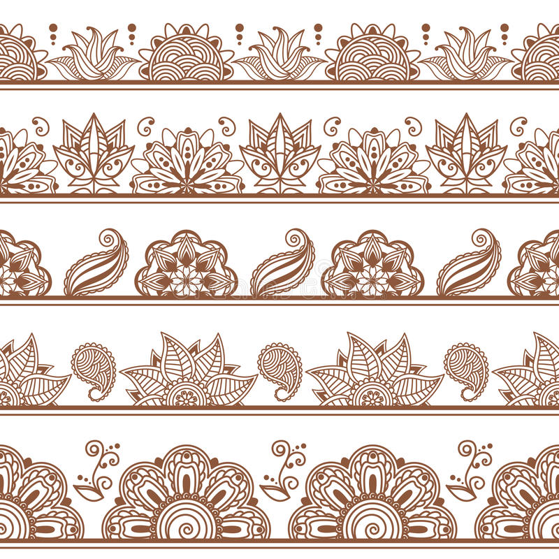 Confini o modelli senza cuciture nello stile indiano con royalty illustrazione gratis