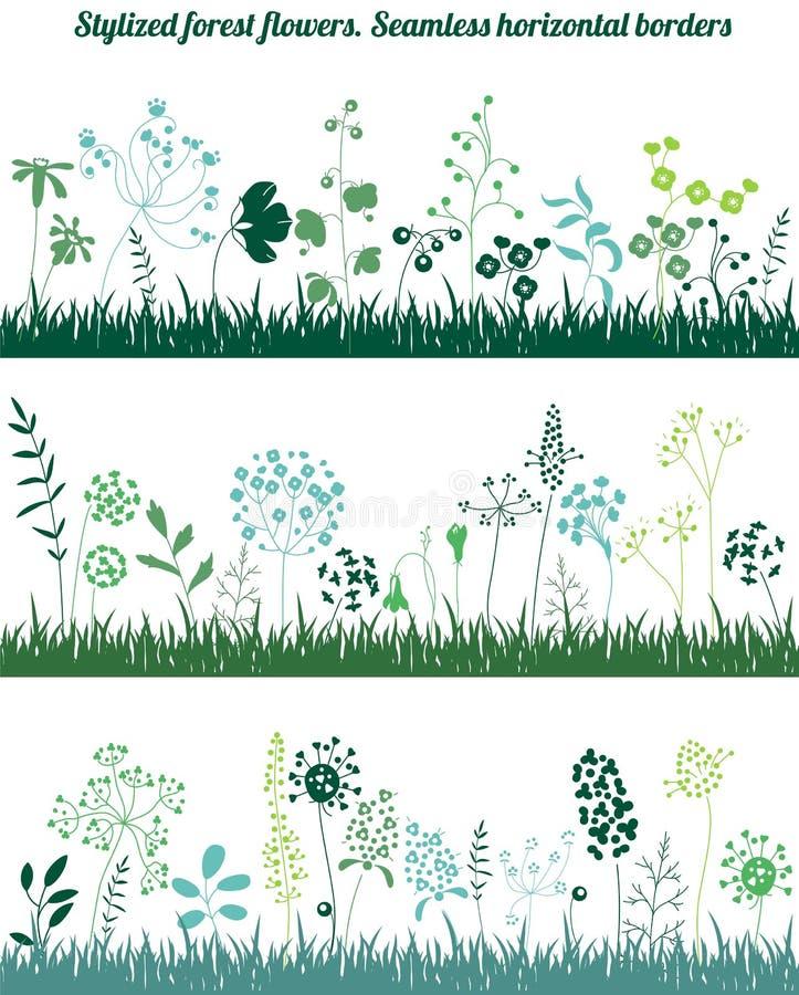 Confini orizzontali senza cuciture con le piante crescenti stilizzate Siluetta elegante illustrazione di stock
