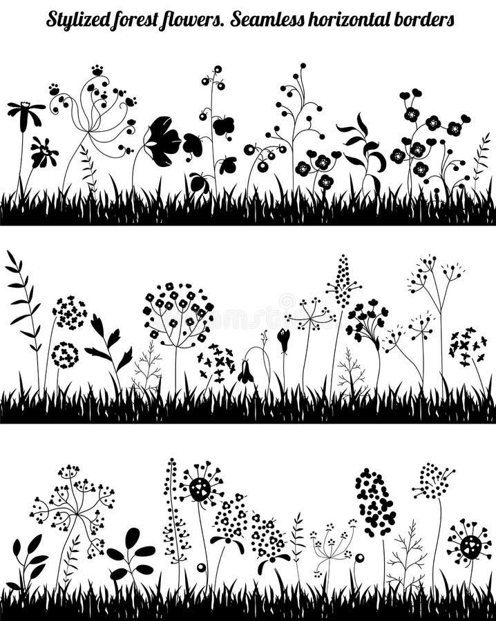 Confini orizzontali senza cuciture con le piante crescenti stilizzate Siluetta nera illustrazione di stock