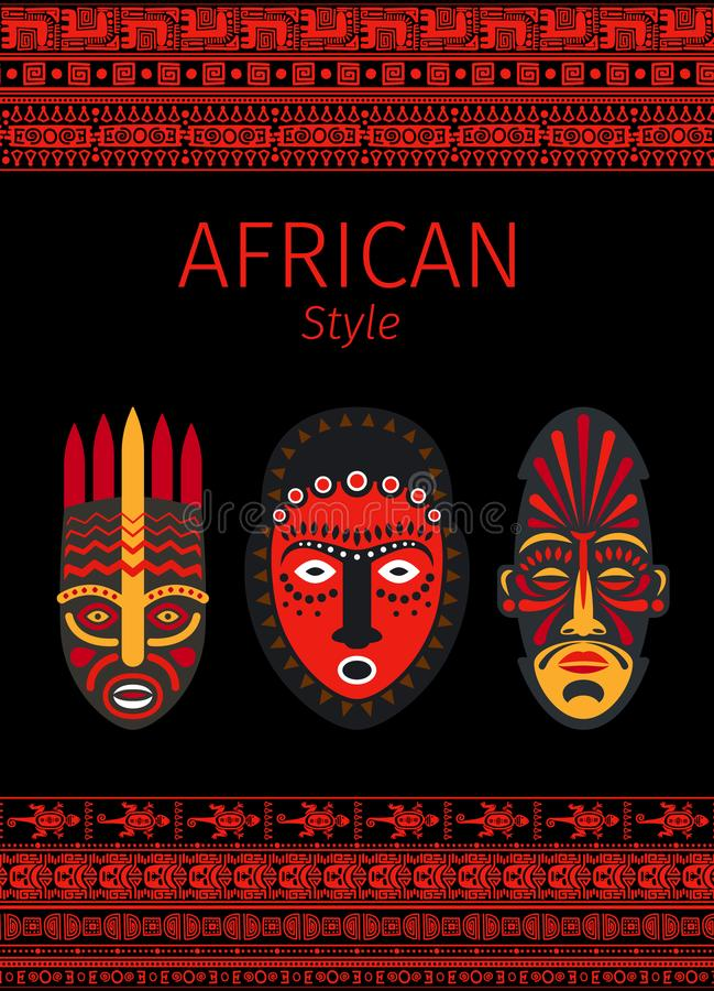 Confini rossi e maschera di stile africano royalty illustrazione gratis