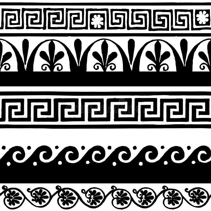 Confini senza cuciture antichi - disegno della mano illustrazione di stock
